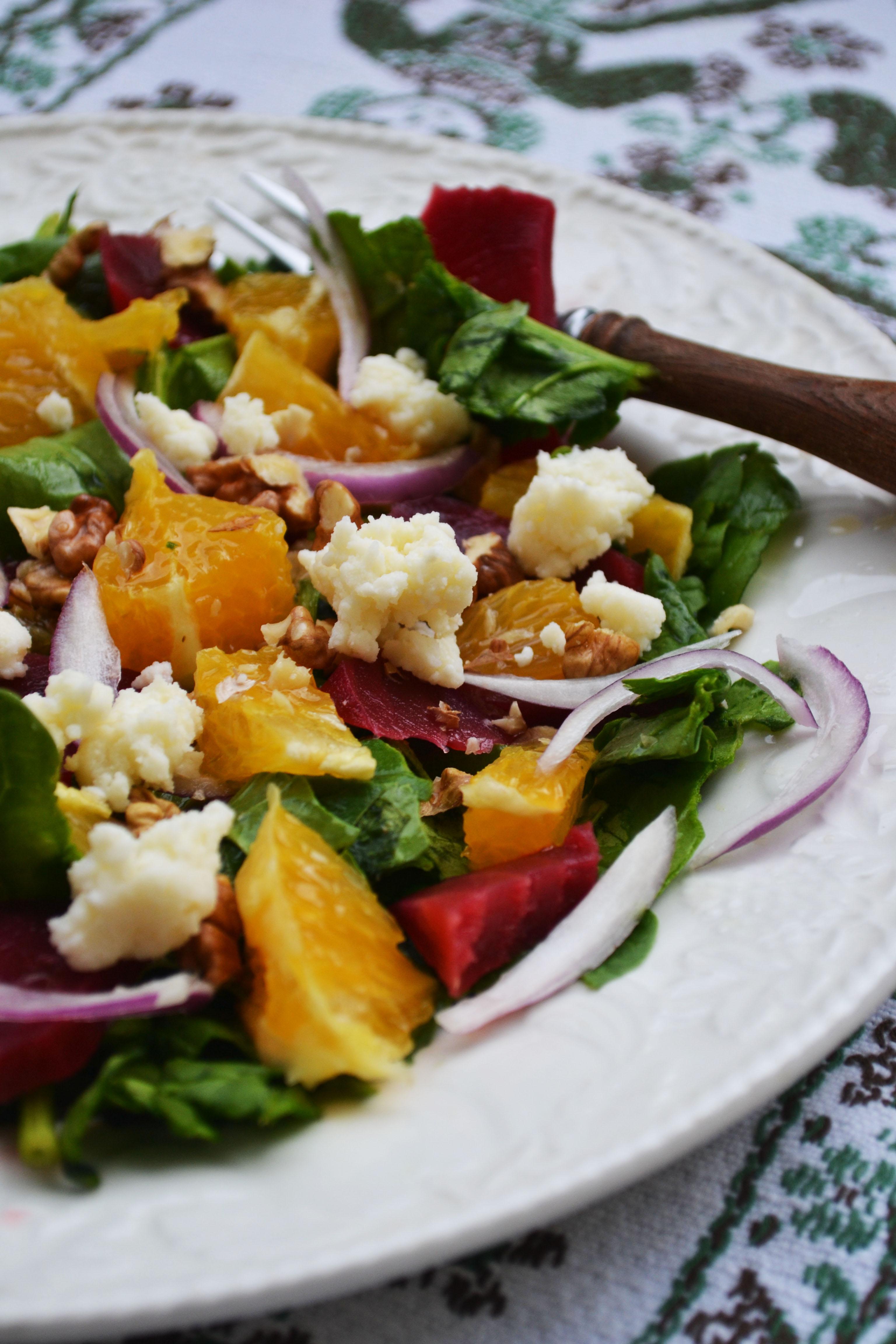 salata de sfecla rosie, spanac si portocale (3)